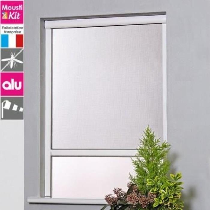 Moustiquaire enroulable en aluminium pour fenetre L125 x H160 cm blanc - MOUSTIKIT