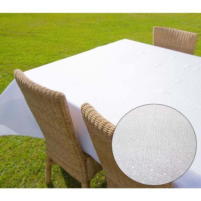 SUCRE D'OCRE Nappe carré BELLA - 180x180cm - Polyester Blanc