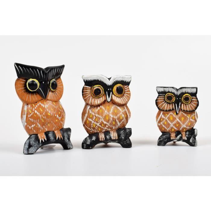 CHOUETTES Lot de 3 chouettes déco bois sculpté marron et noir