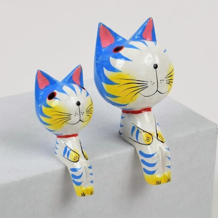 CAT Objet déco a poser 2 chats en bois sculpté