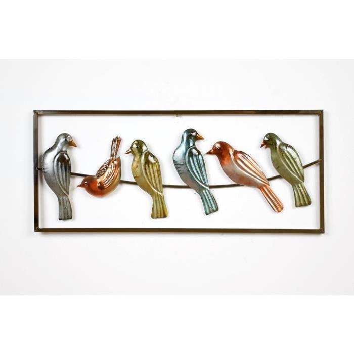 Décoration murale Oiseaux - Métal - L 69 x P 2,54 x H 29,2 cm