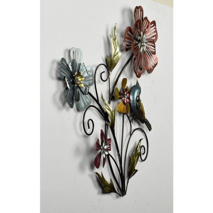 Décoration murale Bouquet 4 Fleurs Oiseau - Métal - L 49,53 x P 3,17 x H 53,34 cm