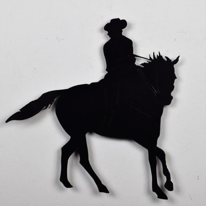 Décoration murale Cavalier - Métal - Noir - L 36 x H 38 cm
