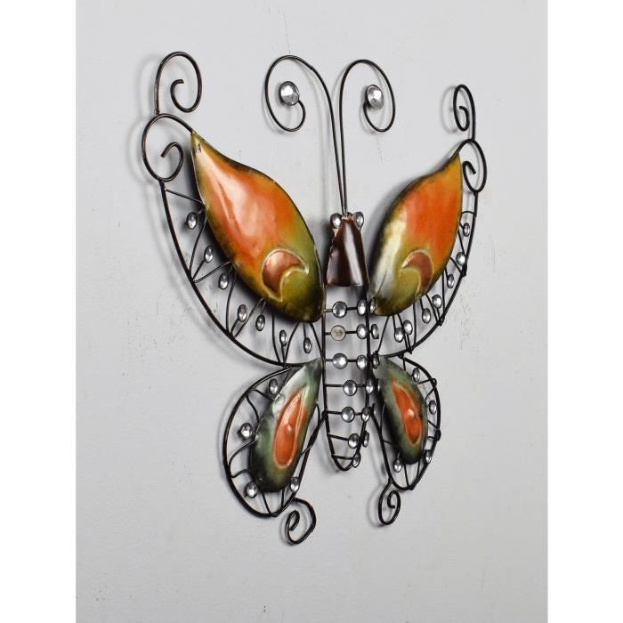 Décoration murale Papillon Perles - Métal -L 46,5 x P 2,5 x H 35,5 cm