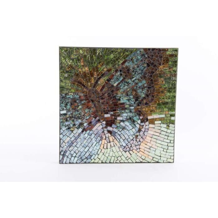 PAPILLON Déco murale bois cristal - 34 x 34 x 4 cm