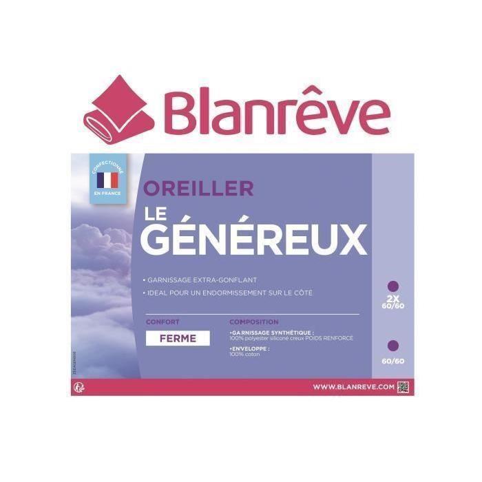 BLANREVE Oreiller Le généreux 60x60 cm blanc