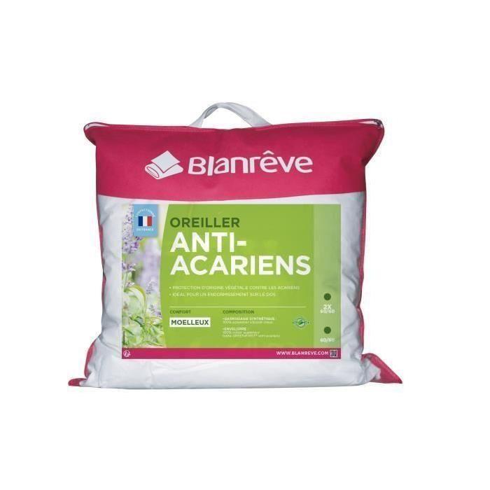 BLANREVE Oreiller GREENFIRST Anti Acariens 60x60 cm blanc
