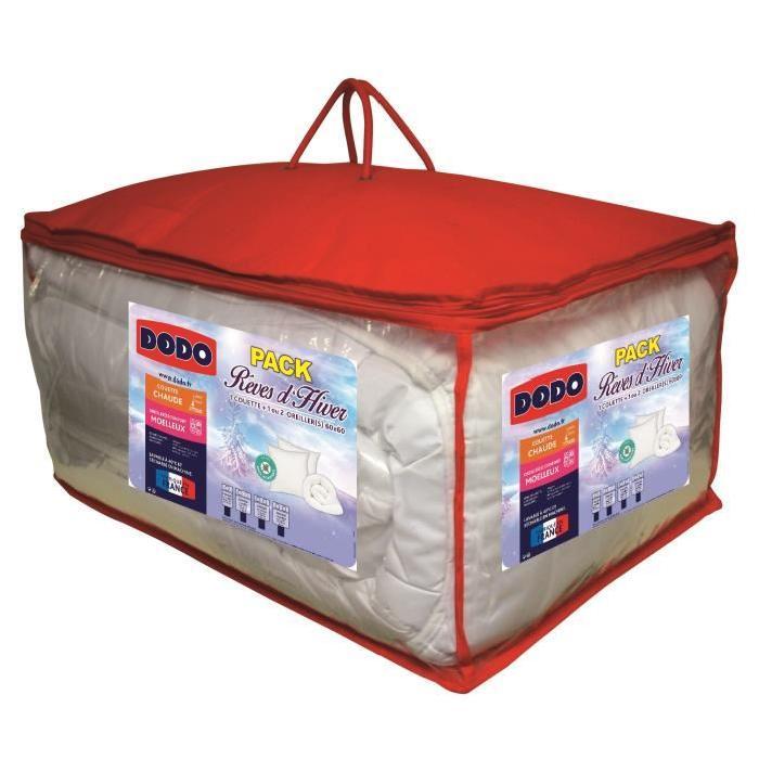 DODO Pack Anti-acariens Reves d'hiver - 1 couette 240x260 cm + 2 oreillers 60x60 cm blanc