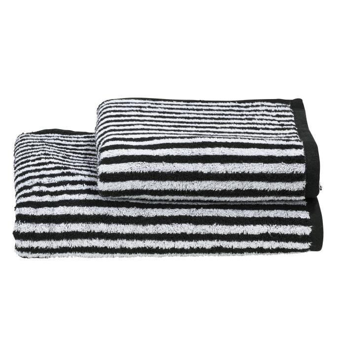 DONE Daily Shapes STRIPES 1 serviette de toilette + 1 drap douche - Noir et Blanc