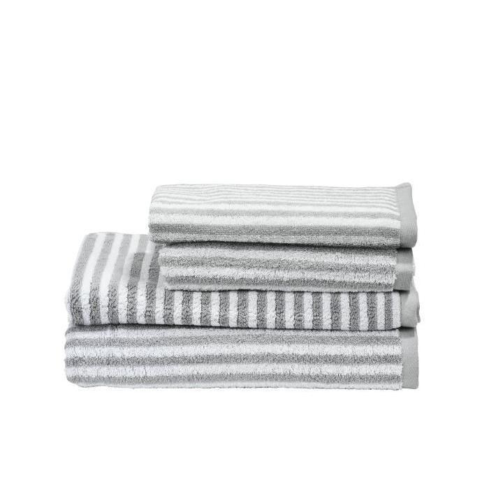 DONE Daily Shapes STRIPES 1 Serviette Invité + 1 Serviette de toilette + 1 Drap de douche + 1 Tapis de Bain - Argent et Blanc
