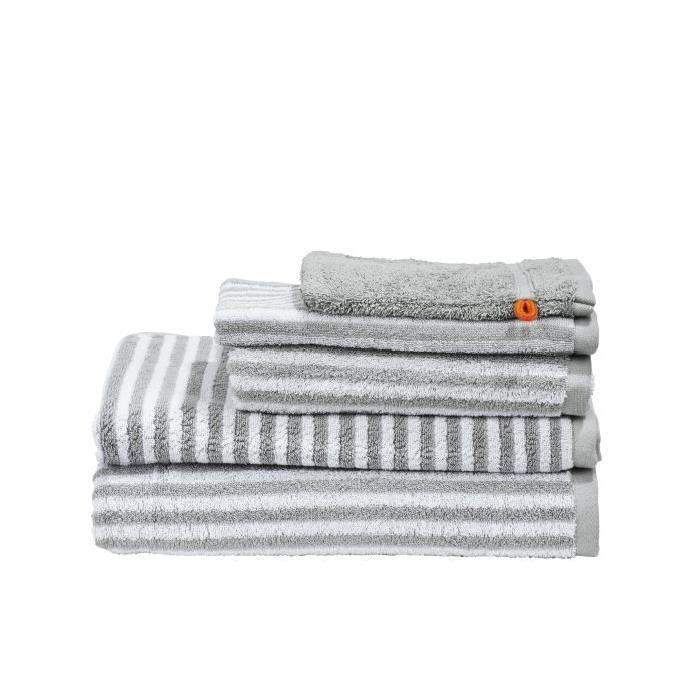 DONE Daily Shapes STRIPES 1 Serviette  + 1 Serviette de toilette + 1 Drap de douche + 1 Tapis de Bain + 1 Gant - Argent et