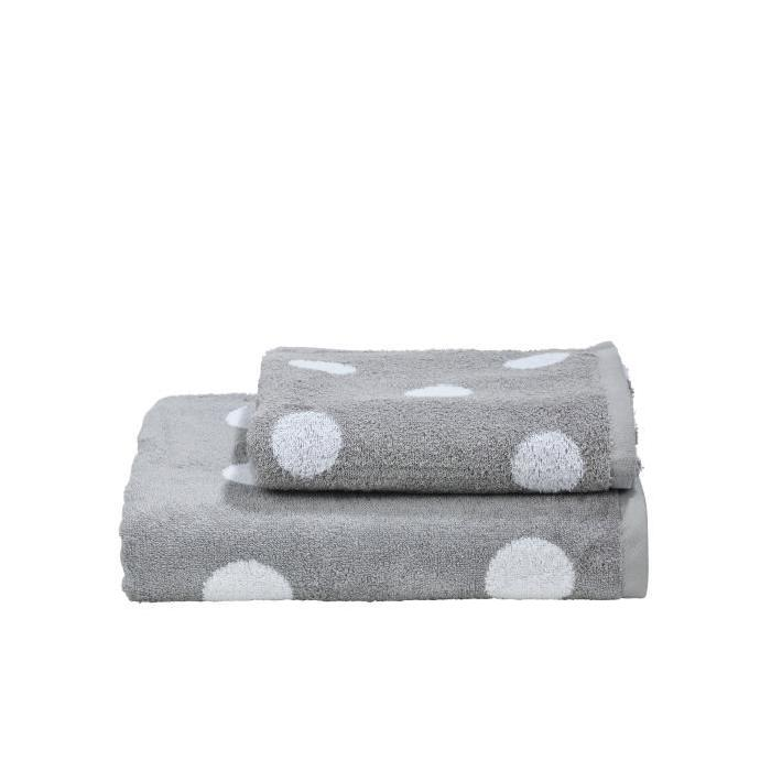 DONE Daily Shapes DOTS 1 serviette de toilette + 1 drap douche - Argent et Blanc