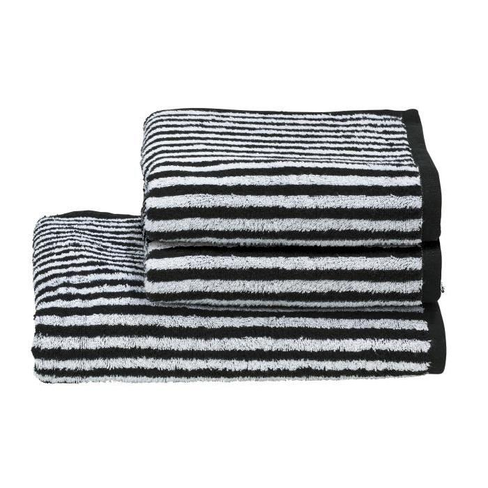 DONE Daily Shapes STRIPES 2 serviettes de toilette + 1 drap douche - Noir et Blanc