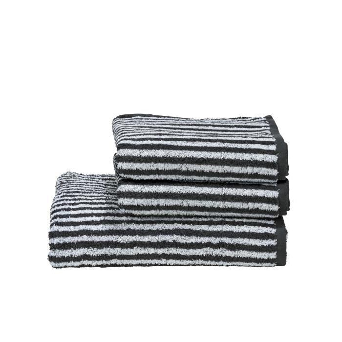 DONE Daily Shapes STRIPES 2 serviettes de toilette + 1 drap douche - Anthracite et Blanc