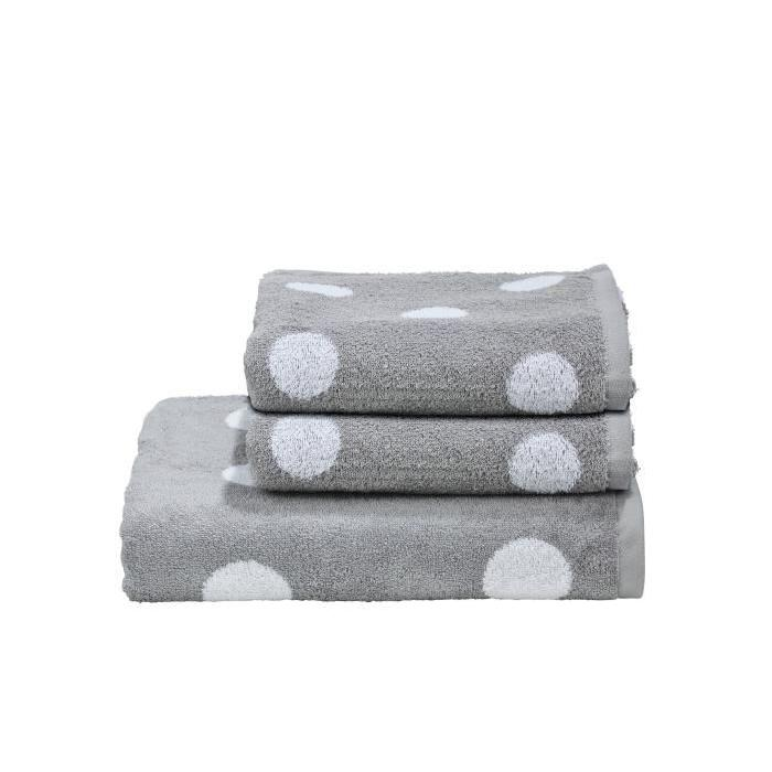 DONE Daily Shapes DOTS 2 serviettes de toilette + 1 drap douche - Argent et Blanc