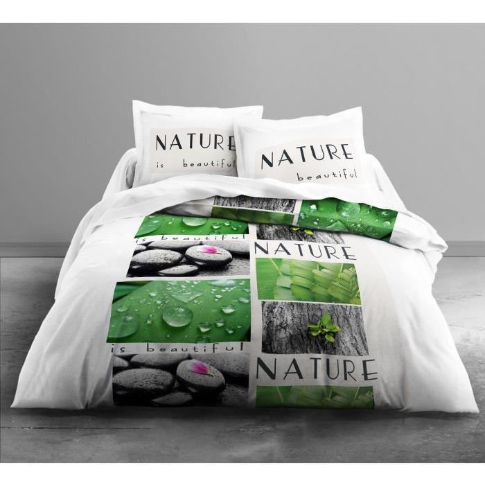 TODAY Parure de couette Only NATURE - 1 housse de couette 220x240 cm + 2 taies d'oreillers 63x63 cm blanc et vert
