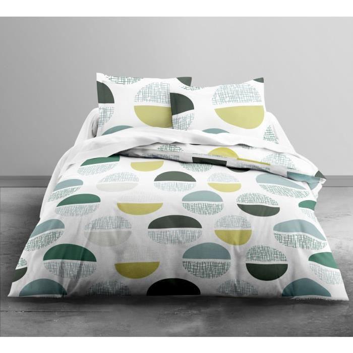 TODAY Parure de couette Only CIRCULAR - 1 housse de couette 220x240 cm + 2 taies d'oreillers 63x63 cm blanc, jaune et vert