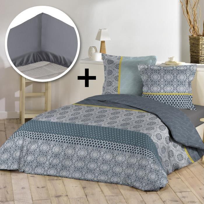 Parure de couette 100% coton 220x240cm + drap housse 140x190cm - Marisiane