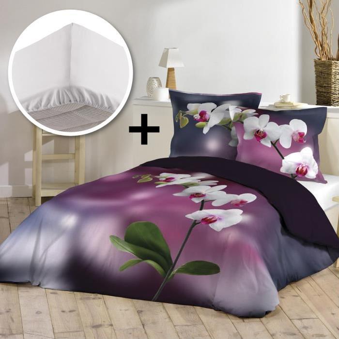 Parure de couette 100% coton 220x240cm + drap housse 140x190cm - Jolie fleur