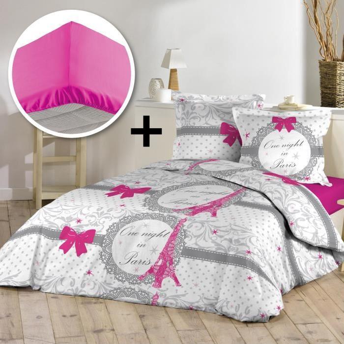 Parure de couette 100% coton 220x240cm + drap housse 140x190cm - Eiffel love