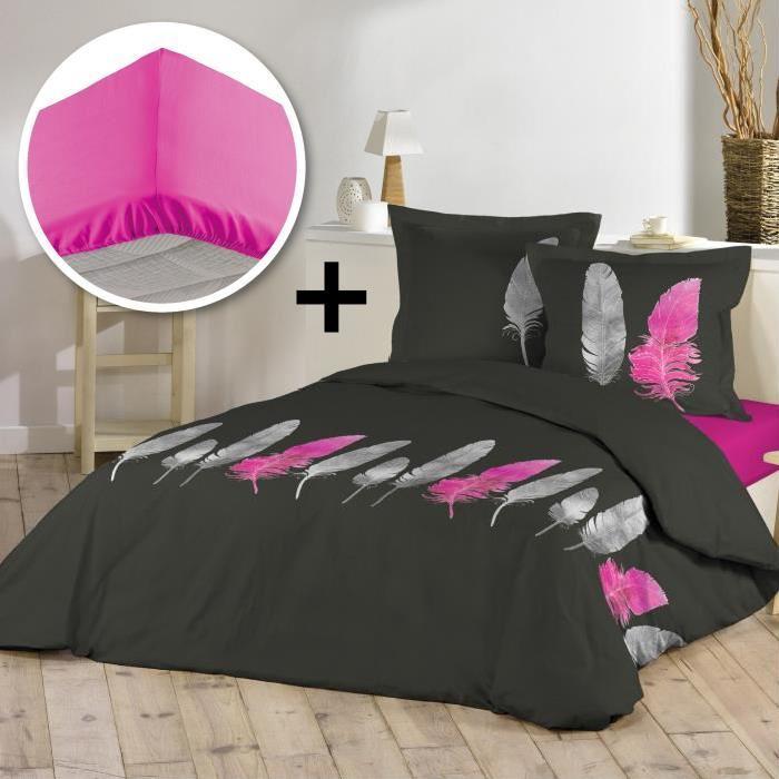 Parure de couette 100% coton 240x260cm + drap housse 160x200cm - Pink plume
