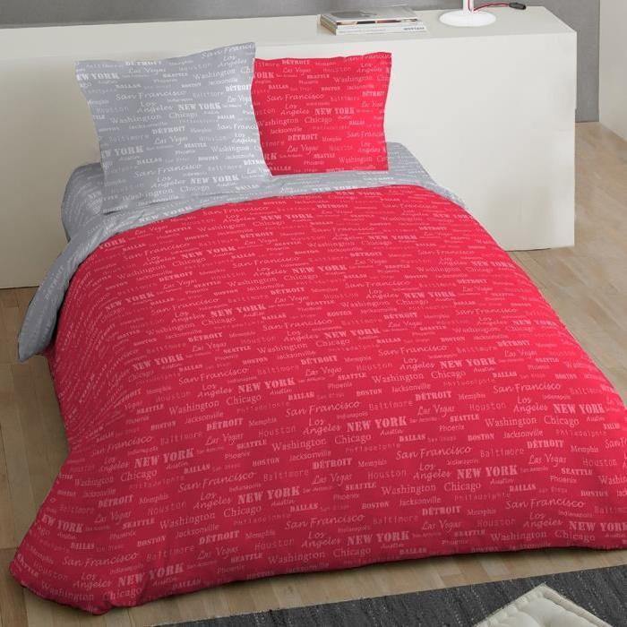 COTE DECO Parure Microfibre City 220x240cm - Rouge