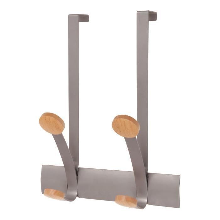 ALBA 2 bi-Pateres de Porte - Gris métal et bois clair - 37,4x18x12,3cm