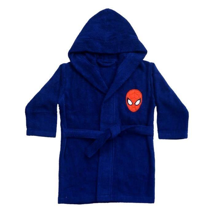 Peignoir  Spiderman - 100% coton - Col kimono - 6 / 8 ans - Bleu / Rouge