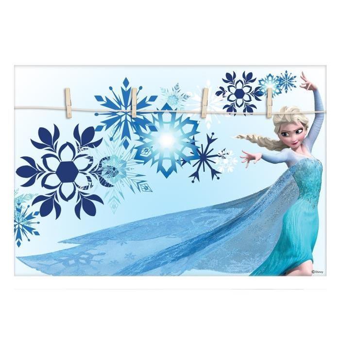 ELSA Reine des neiges Pele-mele déco 50x35 cm bleu
