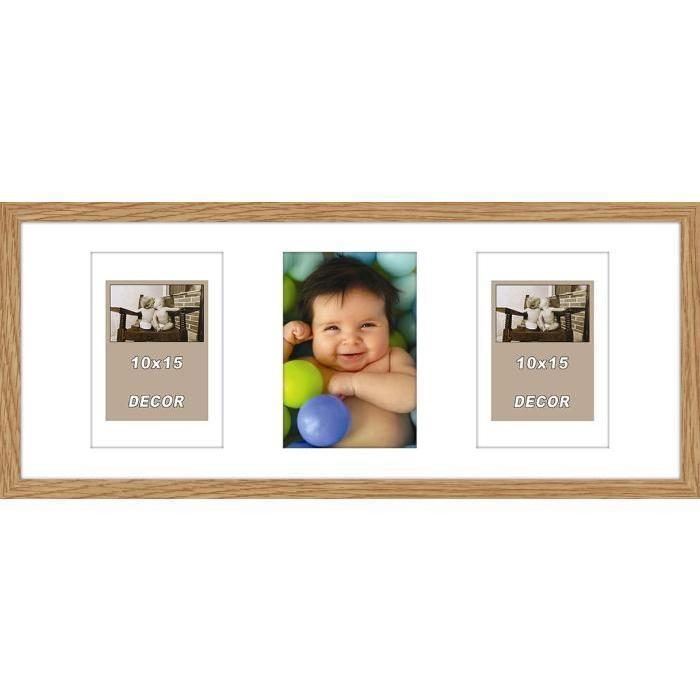 ERIKA Cadre photos pele-mele 3 vues 20x50 cm Chene