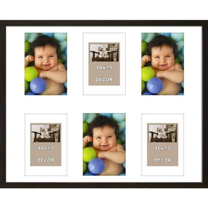 ERIKA Cadre photos pele-mele 6 vues 40x50 cm Noir mat