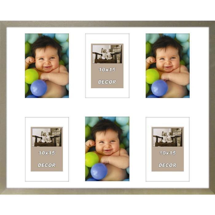 ERIKA Cadre photos pele-mele 6 vues 40x50 cm Argent