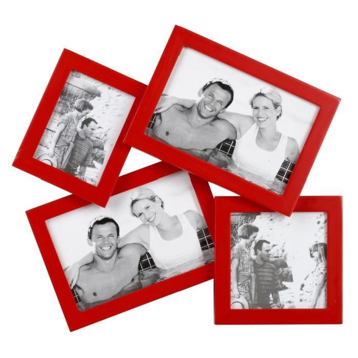IMAGINE Cadre photo multivues Lyra rouge 28,5x31,5 cm 4 photos 10x15 cm