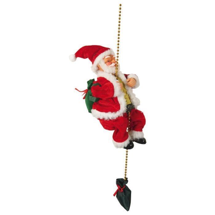 Personnage de Noël Pere Noël grimpeur automate H23 cm