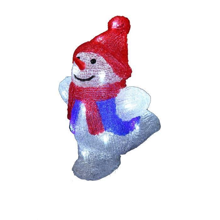 Figurine de Noël Bonhomme de neige lumineux Rouge H25,5 cm