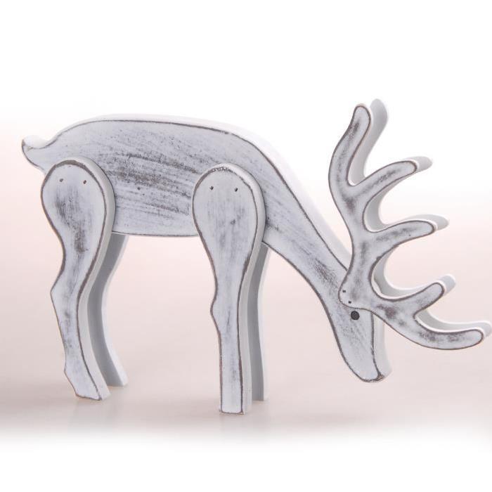 Figurine de Noel Renne en Bois Blanc 31x17 cm