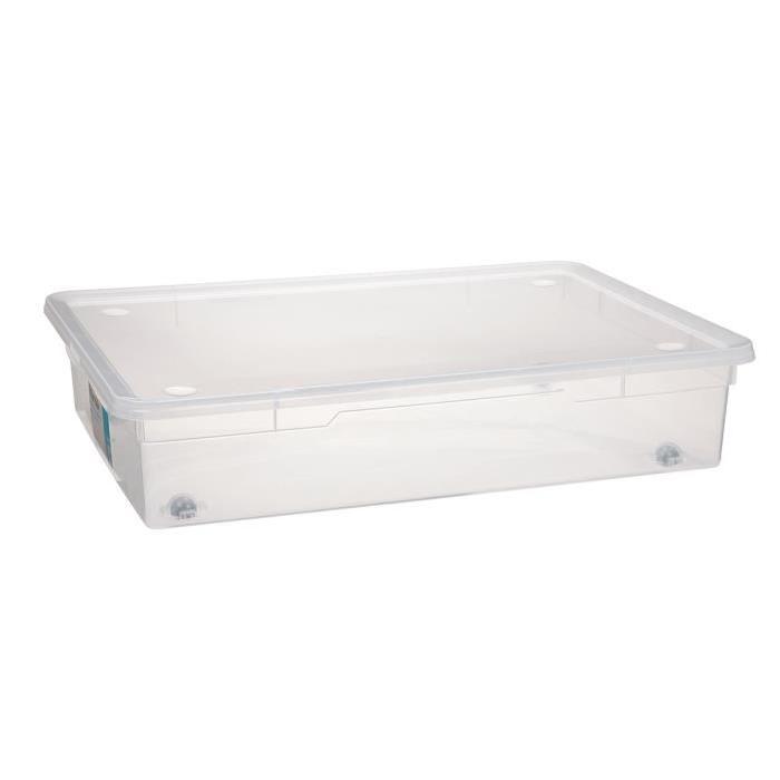 Boîte de rangement - Dessous lit - Couvercle - Transparent - 55 L