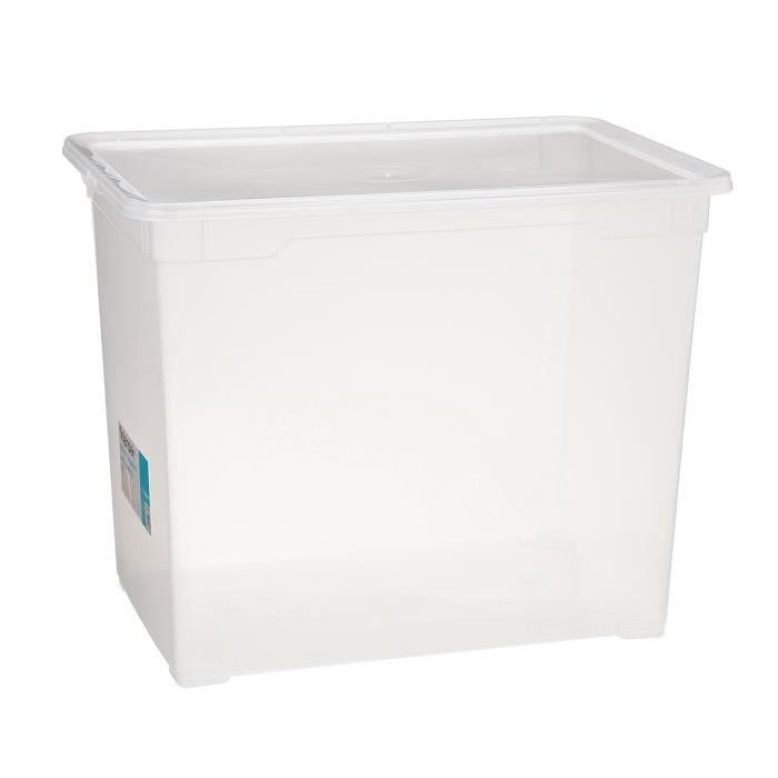 Boîte de rangement - Mega- Couvercle - Transparent - 70 L