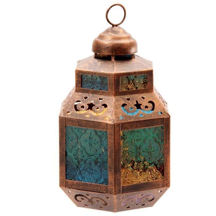 Lanterne marocaine -  Vitres colorées - 26x14x17cm
