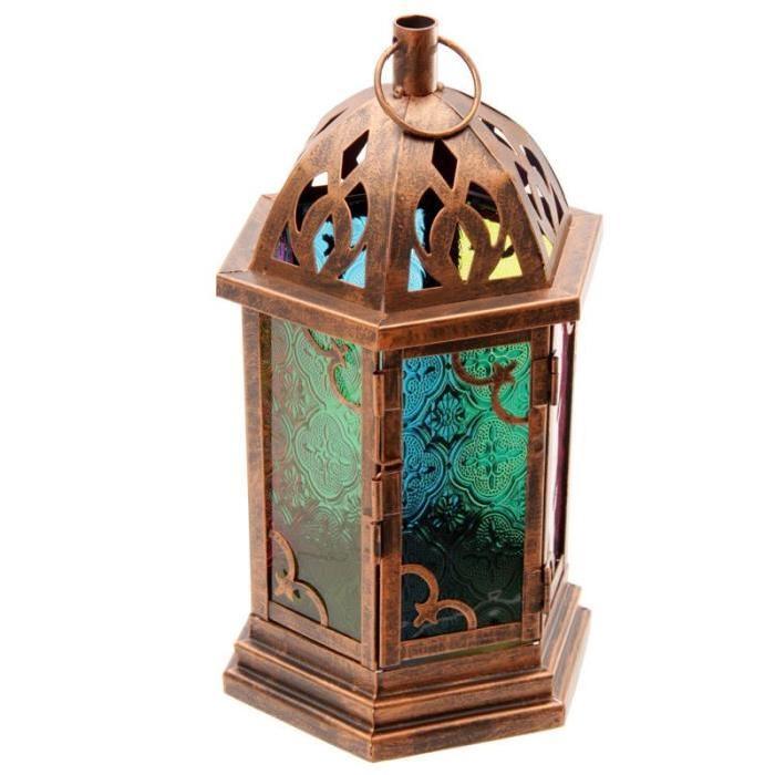 Lanterne marocaine -  Vitres colorées - 29x13x17cm