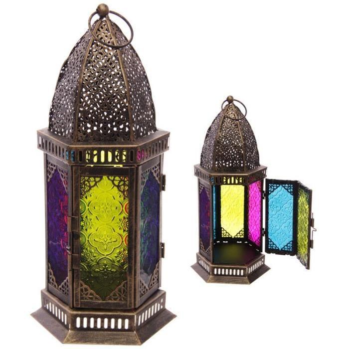 Lanterne marocaine -  34x14.5x7cm -  Métal et verre