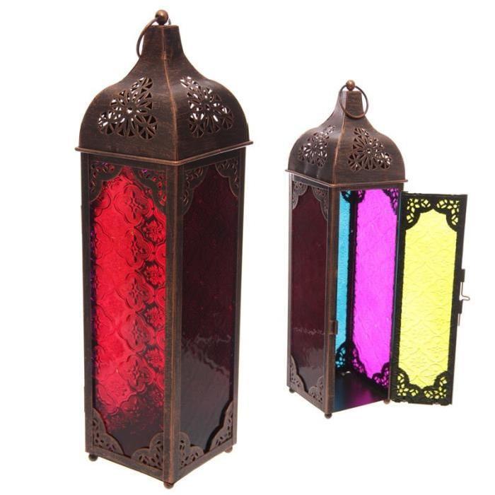 Lanterne marocaine -  39x10x10cm - Métal et verre