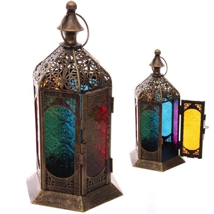 Lanterne marocaine -  31x15x17cm -  Effet patiné