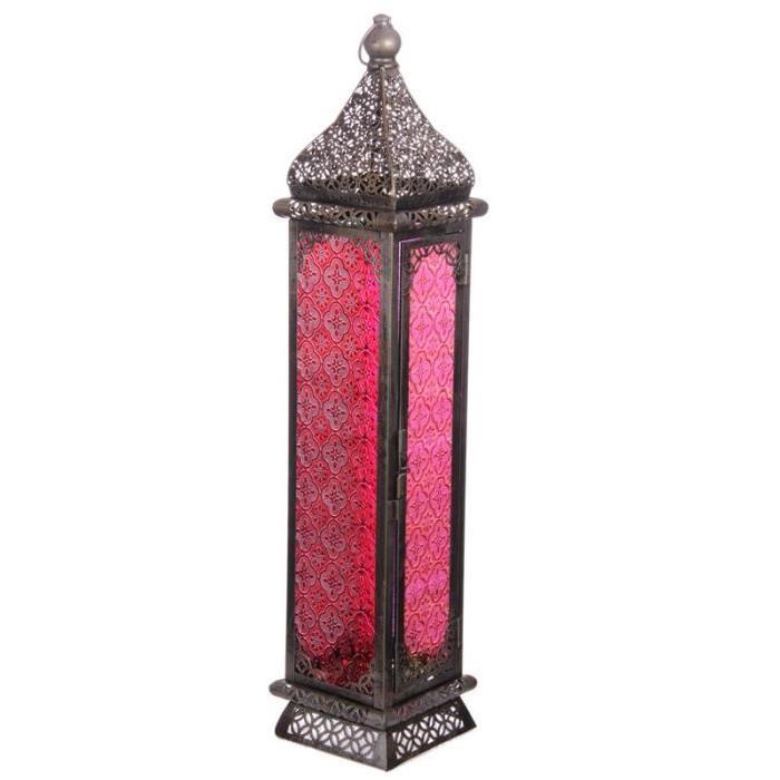 Lanterne marocaine -  60x13x13cm - Argent brossé