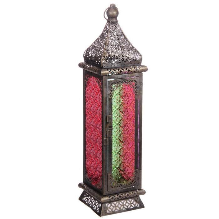 Lanterne marocaine - 50x13x13cm - Argent brossé
