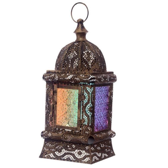 Lanterne marocaine - 37x16x16cm - Effet doré