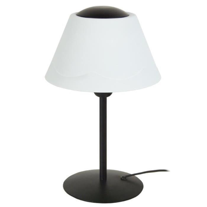 POLYCONE Lampe Tube, abat-jour. Polypropilene, hauteur 35 cm, noir et blanc