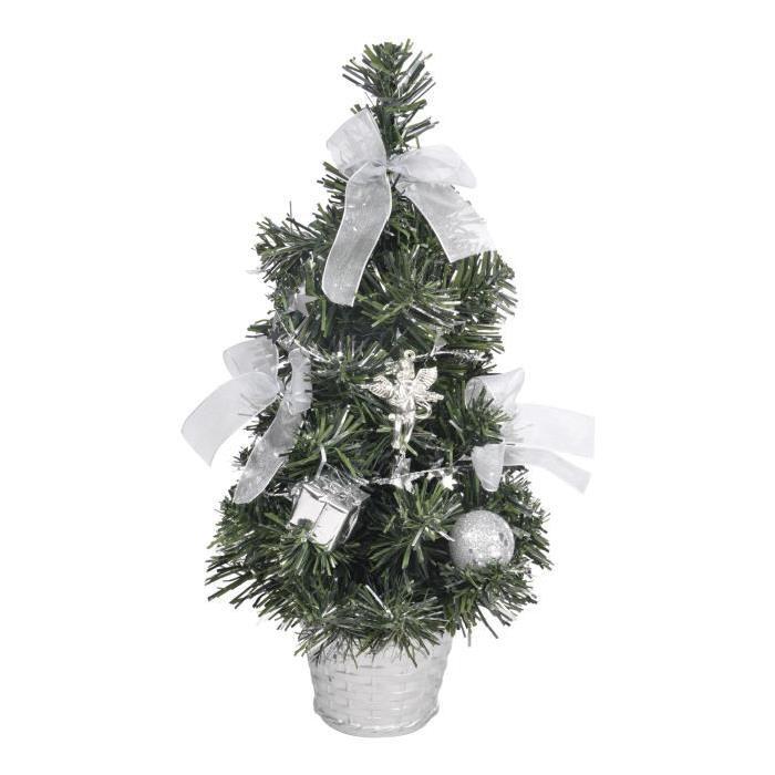 Sapin de Noël Artificiel lumineux Argenté 30 cm