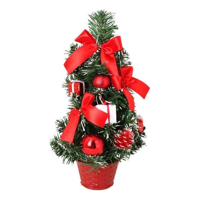 Sapin de Noël avec boites Rouges & Blanches 30cm
