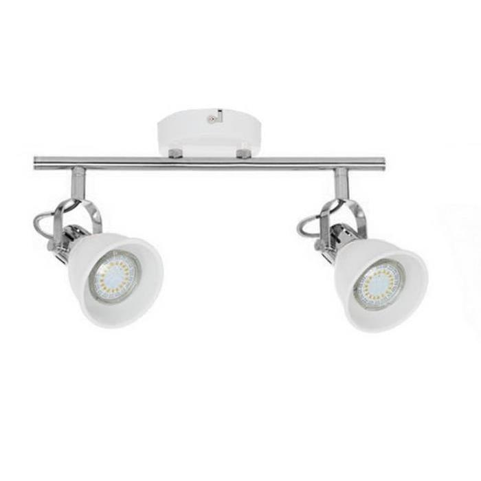 Spot barre a 2 lumieres Stanford LED GU10 4,5W ampoules fournies largeur 38 cm blanc mat et chrome